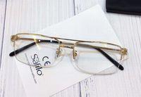 Retângulo Meia Rim Óculos De Ouro Quadros Claro Lente Meio Frame Óculos Mens Moda Óculos De Sol Quadros com Caixa