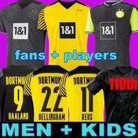팬 플레이어 1990 한정판 HAALAND REUS BORUSSIA 21 22 4th Dortmund 축구 유니폼 2021 2012 축구 셔츠 Bellingham Neongelb Hummels Piszczek Men + Kids Kit