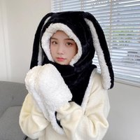 Hats, Scarves & Gloves Sets Sweet Cartoon Ear Hat Cute Winter Gift Windproof Scarf And Set Thick Hoodies With Mitten Black