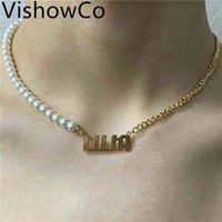 Vishowco Customized Name Personalisierte Pearl Gold Anhänger Typenschild Halskette für Frauen Schmuck Geschenk