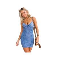 2017 Yaz Denim Elbise Yeni Kadınlar Mavi Jean Rahat Sapanlar Mini Elbise Moda Kadınlar Için Yüksek Bel Seksi Backless Elbiseler Ücretsiz Kargo