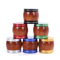 Colorful Aluminium Alloy Smoking Wood Grain Portable Dry Herb Tobacco Grind Spice Miller Grinder Crusher Grinding Chopped Hand Muller Cigarette Tool DHL Free