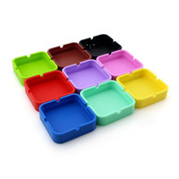 Silicon Ashtray 9 Pure Colors Square Silicone Smoking Portable Ashtrays Herb Tobacco Hold Cigarette Container bendable by sea OWB10532