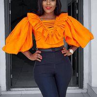 Women's T-Shirt Women Big Lantern Sleeve V Neck Ruffles Tops Elegant Office Lady Classy Orange Fashion Tshirts Hollow Out Plus Size Casual T