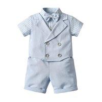 Bebek Erkek Beyefendi Stil Giyim Setleri Için İki Parçalı Set Yaz Erkek Kısa Kollu Ekose Gömlek Bowtie + Şort Çocuklar Suits Çocuk Kıyafetleri 1-6 Yıl