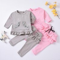 Clothing Sets Autumn Toddler Baby Girls Ruffle Pocket Solid Bowknot Tops +Bow Pants Kids Outfits Fashion Girl Clothes 1 2 3Y