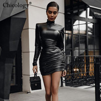 Chicology PU in pelle club mini abito inverno autunno bodycon manica lunga sexy party outfits donne moda compleanno y2k vestiti