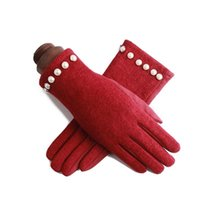 Korea's Female Single Layer Cashmere Pearl Cycling Windproof Warm Mittens Winter Suede Leather Touch Screen Driving Gloves J24