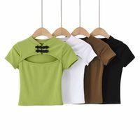 T-shirt manica corta T-shirt da donna 2020 nuovo stile cinese scava fuori bottone bobina aperto al petto top moda
