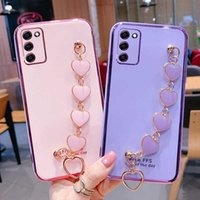 Luxury Plating Love Bracelet Wrist Chian Strap soft Case For Samsung Galaxy S21 S20 S10 S9 S20FE Plus Ultra Note 8 9 10 20 Cover Y1025