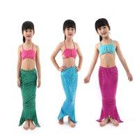 Mermaid Tail 2021 Girls Bikini Badeanzug Princess Rock Cosplay Performance Kostüm Drei Stück Anzug