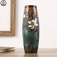 Bao guang ta novo chinês arte abstrata garrafa lótus folha vaso planta seca arranjo de flores de cerâmica decoração home r6261