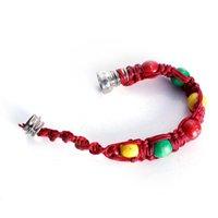 2021 Metal Bead Bracelet Smoking Pipe Jamaica Rasta Wristband Pipes 3 Colors Retail Men Women Cool Gifts Knot Rope Smoking accessories