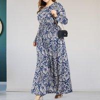 Casual Dresses Retro Floral Print Maxi Dress Women Large Hem Autumn Winter O-Neck Elastic Waist Bohemia Plus Size Streetwear
