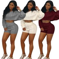 Women's Tracksuits Women Autumn Winter Knitted Sweater Two Piece Set O Neck Long Batwing Sleeve Crop Top Shorts Sexy Night Club Outfits Trac