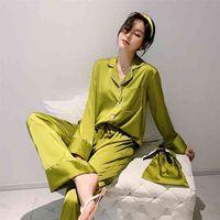 Daeyard Silk Pajama наборы для женщин роскошный длинный рукав пижамы пижамы пижамы негабаритные 2 шт. Кнопка Pijama с сумками сексуальная домашняя одежда 210831