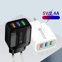5V 2.4A 3Ports Eu US Ac Power Adapter Travel Wall Charger For Iphone X XR 11 12 Samsung Tablet PC Android phone