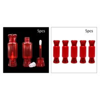 Storage Bottles & Jars 5Pcs Set Cute Red Candy Shape Lip Gloss Tubes 9ml Empty Refillable Lipstick Containers Sample Bottle With Brush Tip A