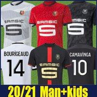 2020 2021 Stade Rennais 120th Inniversary Jersey الرجال Kid Kit Raphinha Bourigeaud Comavinga Football Jersey Mailleot de Stade Rennais 20/21