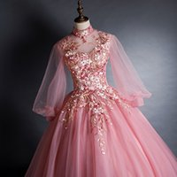 free ship light pink embroidery long lantern sleeve stand collar ball gown cosplay medieval dress dance stage performance