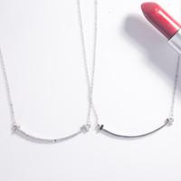 Moda 925 Silver Cadena Amante Smile Charms Collar de mujer Moda Trendy T Forma Colgantes Modelo Cristal Colgante Collar