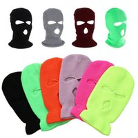 Beanies 3 Hole Full Face Mask Autumn Winter Knit Cap For Ski Cycling Army Tactical Balaclava Hood Motorcycle Helmet Unisex Hats