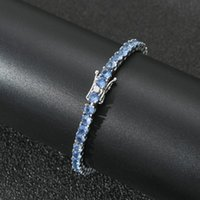 4 mm Iced Out Bling + Blue Zircon 1 Fila Cadena de tenis Pulsera Mujer Hip Hop Plate Color Charms Jewelry