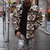 Männer Jacken Leichte Herren Vinatge Freizeit Frühling Revers Kragen Retro Jacke Geometrie Druckmäntel Herbst Mode Männer Kleidung 2021