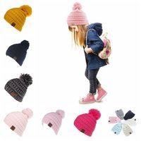 11 Colors CC Trendy Beanie CC Knitted Hats Kids Chunky Skull Caps Winter Cable Knit Slouchy Crochet Hats Fashion Outdoor Hats 20pcs
