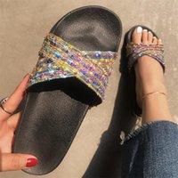 Slippers 2021 Summer Women Cross Rainbow Color Cool Flat Bottom Leisure Diamond Shining Beach Shoes