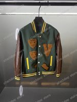 21SS 디자이너 야구 재킷 남성 여성 후드 농구 가죽 Fightcamp 자카드 패브릭 남자 파리 패션 streetwear 긴 소매 luxurys