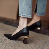 Обувь платье HKXN 2021 весенний дизайн смысл высокие каблуки темперамент специально в форме с неглубоким ртом указывают на носок кожа