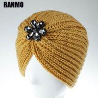 Beanie / Capas de cráneo Ranmo Bohemia Gorros de punto de invierno gorros para mujer Flores de acrílico Rhinestone Girls Skullies Mujer cálida Wool