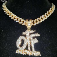 Pendant Necklaces Men Women Hip Hop ONLY THE FAMILY Letter Necklace With 13mm Miami Cuban Chain Iced Out Bling Hiphop Jewelry