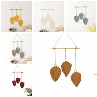 Tassel Leaves Pendant Cotton Woven Hand knotted Wall Decorat...