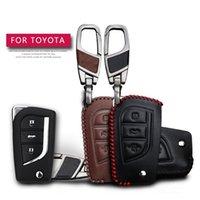Läderbil nyckelfall för Toyota Hilux Corolla Avensis Prado Fortuner Rav4 CHR Skydd Key Shell Skin Bag Only Case
