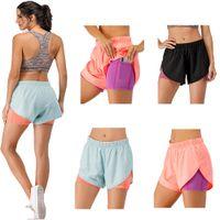 Новейшие женские 2 в 1 йоге короткие беговые брюки поточные шорты днища боковые карманы женские летние фитнес пробеги обучение Упражнения быстрые сухие умывалки дышащие йога