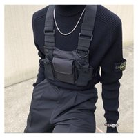 Schwarze taktische Tasche Harness Tasche Männer Nylon Brusttasche Hop Streetwear Funktionale Junge Brust Rig Kanye West Wist Packung Taktische Taille Packung 260 x2