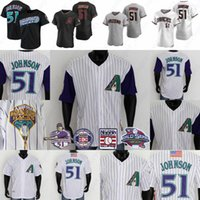 51 Randy Johnson Jersey 2001 WS Patch Salón de béisbol de la fama Jerseys de béisbol Blanco Purple Pinstripe