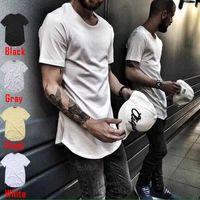 men's T Shirt singer Extended ZSIIBO T-Shirt Curved Hem Long line Tops clothing Tees Hip Hop Urban Blank TX135-F