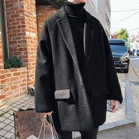 Laine de l'homme mélange hiver manteau de laine mode massif couleur veste décontractée homme streetwear wilde wind vent long hommes hommes