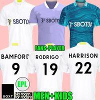 Leeds 21 2 22 Futebol jerseys fãs Versão 2021 2022 Home Firpo Júnior Harrison Harrison Harnandez Costa Bamford Phillips Raphinha Homens Kits Kits Camisa de Futebol