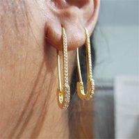 Exclusivo designer cliplip de segurança pino parafusos moda elegante mulheres jóias ouro enchido brinco delicado novo 334 Q2