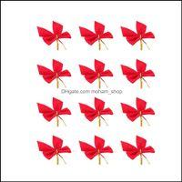 Festival Parti Malzemeleri Ev Garden12 Adet Noel Süslemeleri Mini Kırmızı Veal Ilmek Xmas Şerit Süsler Colorf Bırak Teslimat 2021 ETR1A