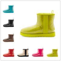 2021 UGG Classic Clear Mini 20 shoes Designer Women Australia Stivali Australiani invernali Snow Furry Furry Satin Boot Classico Clear Mini 20 Stivaletti Pelle Scarpe all'aperto