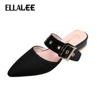 Terlik Ellalae Yaz Düşük Topuklu Kadınlar Siyah Kemer Dekorasyon Katır Sığ Kayısı El Yapımı Eğlence Bayan Ayakkabı