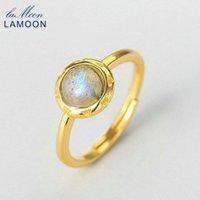 Anelli a cluster Lamoon 925 anello in argento per le donne rotondo naturale africano labradorite gemma 14k placcato oro gioielli gioielli fidanzamento LMRI122