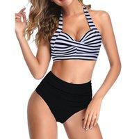 Women's Swimwear Sexy High Waist Bikini 2021 Halter Plus Size Women Swimsuit Female Set Bodysuit Bathing Suit Summer Biquini XXL