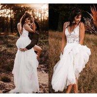 Boho Bohemian Wedding Dresses 2021 vestido de novia Backless Lace Gowns For Women A Line Country Bridal Dress
