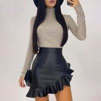 مثير الجلود بو تنورة للسيدات الأسود كشكش غير المتماثلة المرأة مصغرة تنورة عالية الخصر مضيئة الأزياء مكتب تنورة الإناث D25 210312